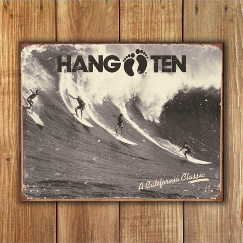 Plechová cedule Hang Ten - California Classic 40 cm x 32 cm w