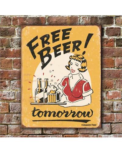 Plechová cedule Moore - Free Beer 40 cm x 32 cm w