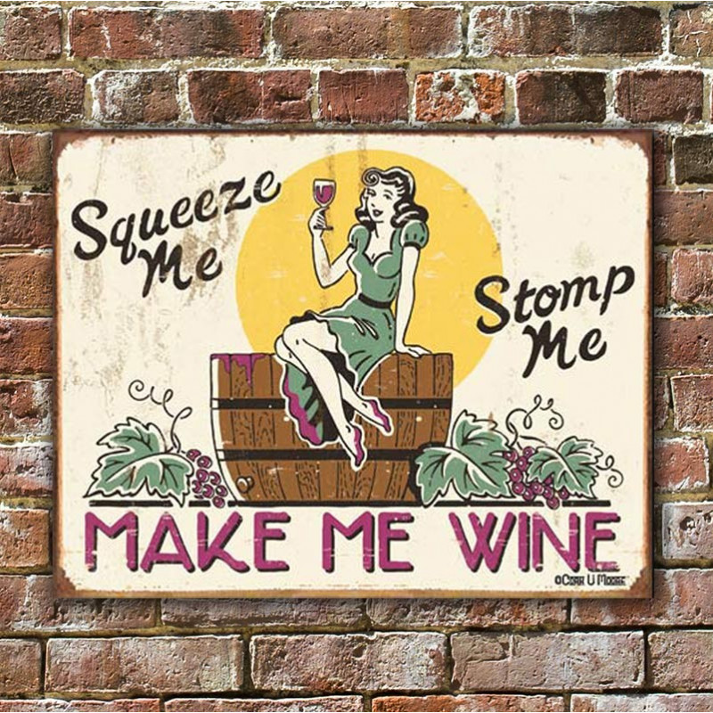Plechová cedule Moore - Make me Wine 40 cm x 32 cm w