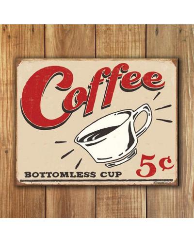 Plechová cedule Schonberg - Coffee 5 cents 40 cm x 32 cm w