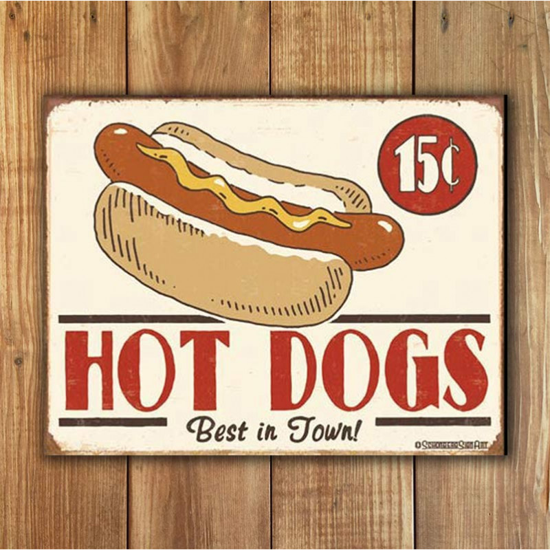 Plechová cedule Schonberg - Hot Dog 40 cm x 32 cm w