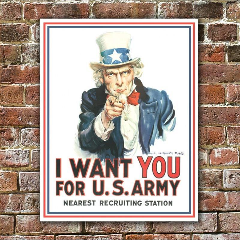 Plechová cedule Uncle Sam I Want You 40 cm x 32 cm w