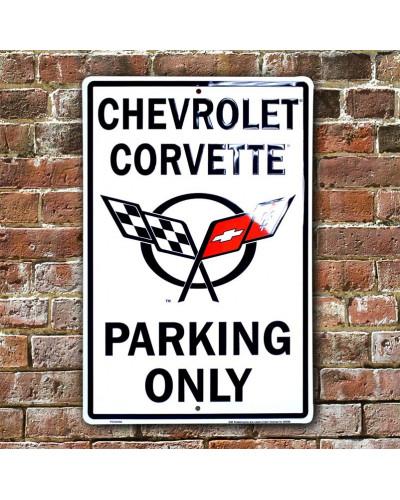 Plechová cedule Chevrolet Corvette Parking 30cm x 45 cm w
