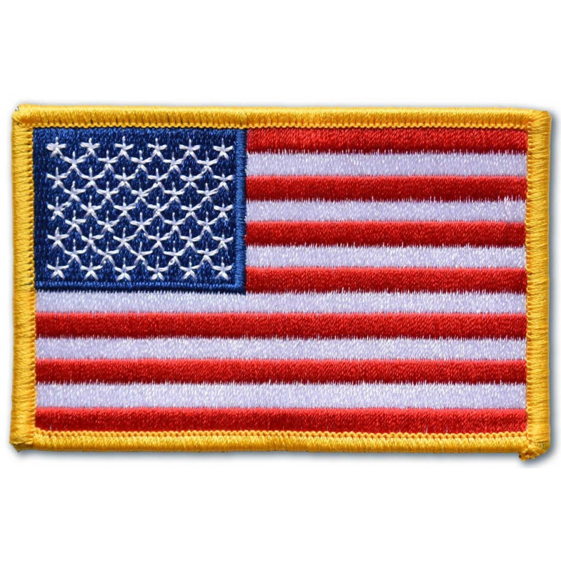 Moto nášivka US flag yellow border 5cm x 9cm