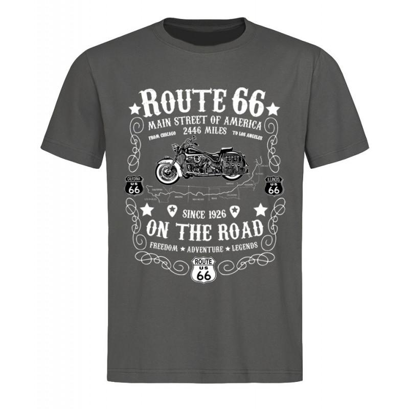 Pánské tričko Route 66 On The Road šedé