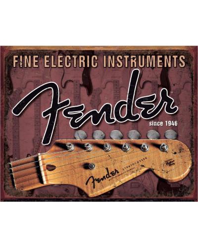 Plechová cedule Fender - Headstock 40 cm x 32 cm