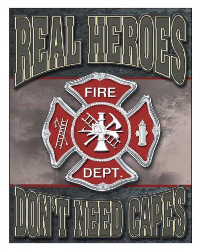Plechová cedule Real Heroes - Firemen 40 cm x 32 cm