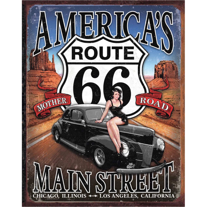 Plechová cedule Route 66 - America's Main Street 40 cm x 32 cm