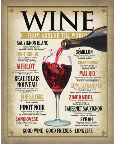 Plechová cedule Wine Around the World 40 cm x 32 cm
