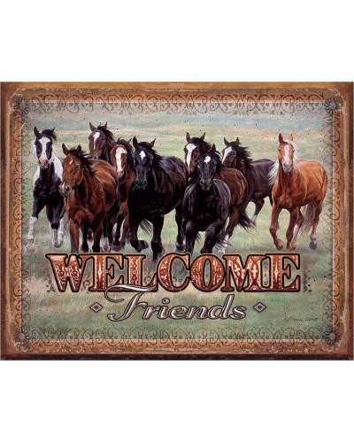 Plechová cedule Welcome Friends - Horses 40 cm x 32 cm