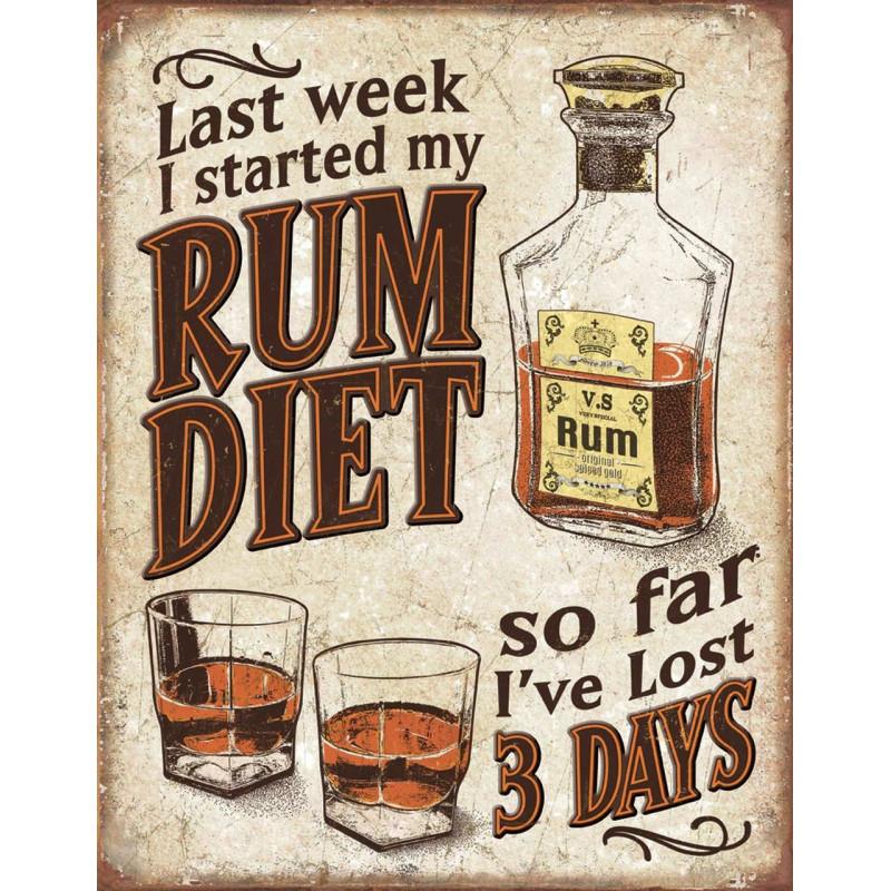 Plechová cedule Rum Diet 32 cm x 40 cm