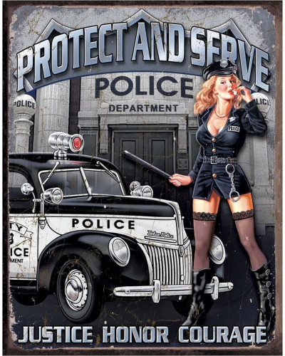 Cedule Police Dept - Protect & Serve 40 cm x 32 cm