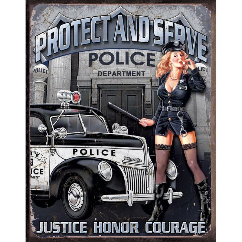 Cedule Police Dept - Protect & Serve 40 cm x 32 cm