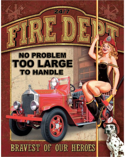 Plechová cedule Fire Dept - No Problem 40 cm x 32 cm