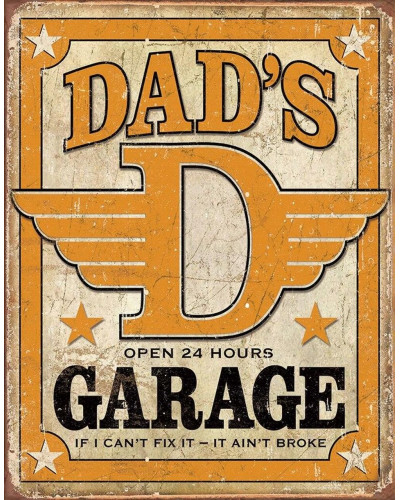 Plechová cedule Dads Garage 40 cm x 32 cm