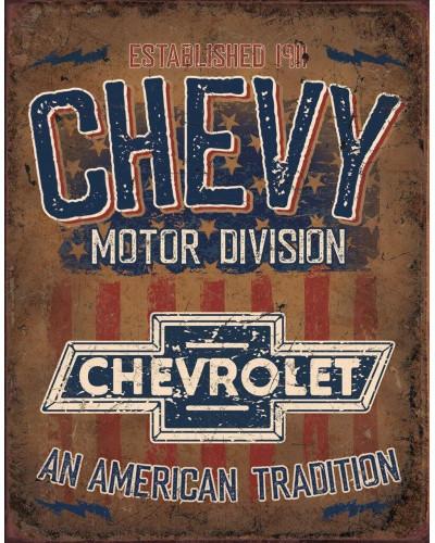 Plechová cedule Chevy - American Tradition  40 cm x 32 cm x