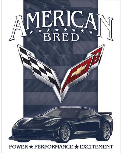 Plechová cedule Corvette - American Bred 40 cm x 32 cm