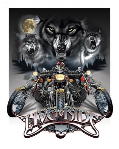Plechová cedule Live to Ride Wolves 40 cm x 32 cm