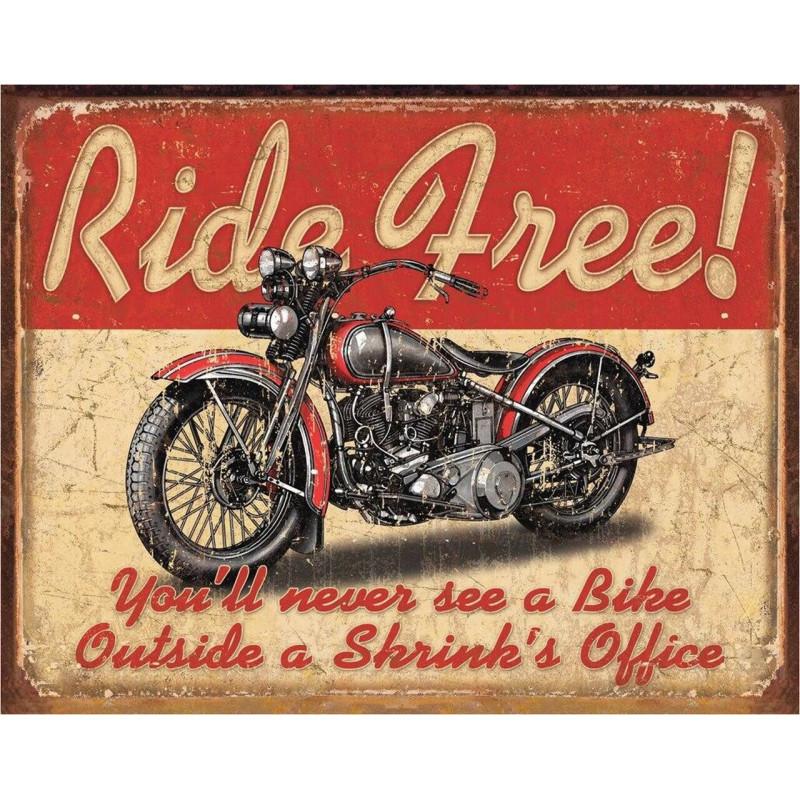 Plechová cedule Ride Free 40 cm x 32 cm