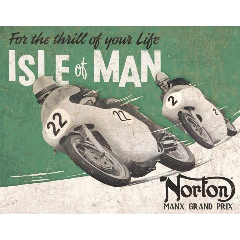 Plechová cedule Norton - Isle of Man 40 cm x 32 cm