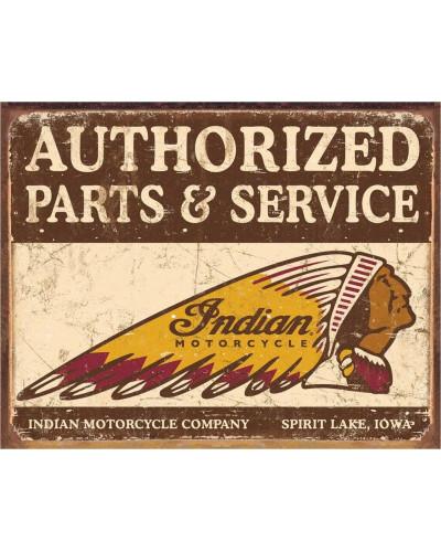 Plechová cedule Authorized Indian Parts and Service 40 cm x 32 cm