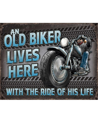 Plechová cedule Old Biker - Ride 40 cm x 32 cm