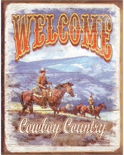 Plechová cedule Welcome - Cowboy Country 40 cm x 32 cm