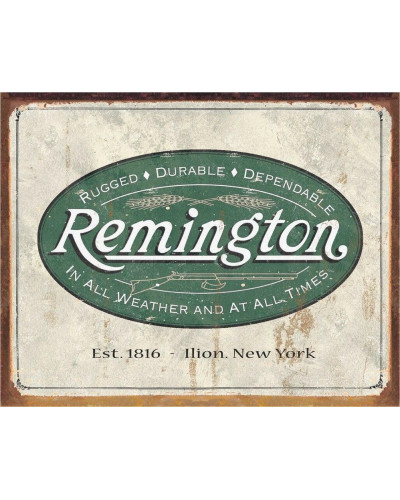 Plechová cedule Remington - Weathered Logo 40 cm x 32 cm