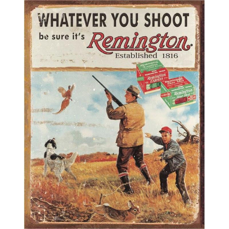 Plechová retro cedule REMINGTON - Whatever You 32 cm x 40 cm