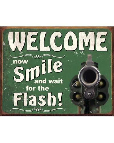Plechová cedule Smile for the Flash 40 cm x 32 cm