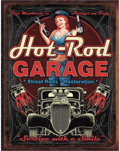 Plechová cedule Hot Rod Garage - Pistons 40 cm x 32 cm