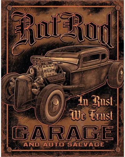 Plechová cedule Rat Rod Garage 32 cm x 40 cm