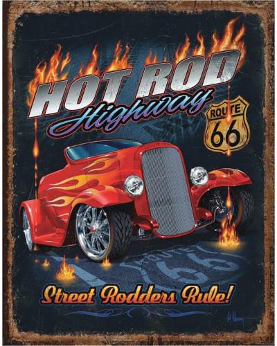 Plechová cedule Hot Rod HWY - 66,  40 cm x 32 cm