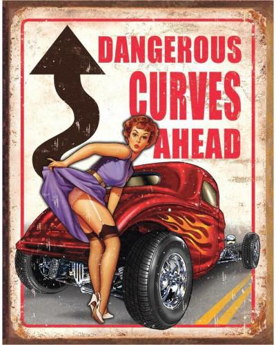Plechová cedule Dangerous Curves 40 cm x 32 cm