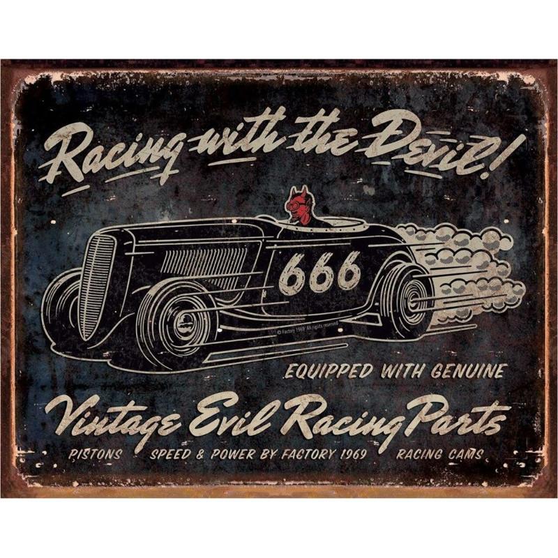Plechová cedule Vintage Evil Racing 40 cm x 32 cm