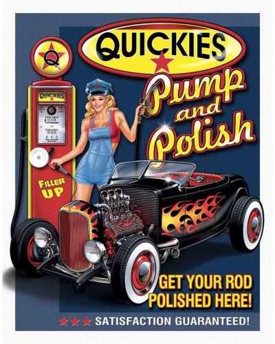 Plechová cedule Quickies Pump Polish 40 cm x 32 cm