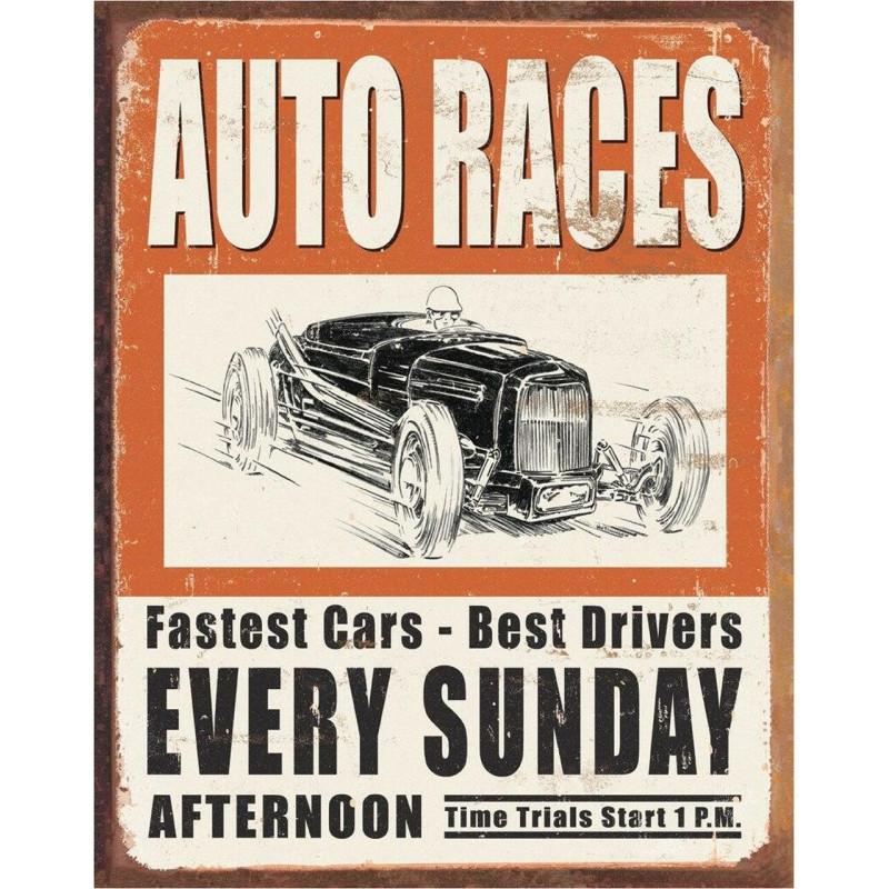 Plechová cedule Vintage Auto Races 32cm x 40 cm
