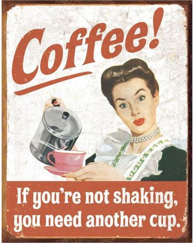 Plechová cedule Ephemera - Coffee Shaking 40 cm x 32 cm