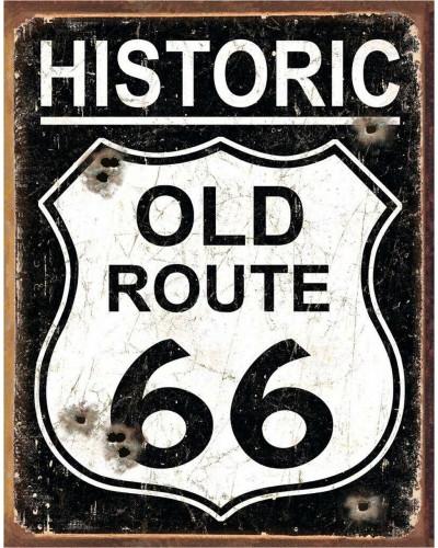 Plechová cedule Old Route 66 - Weathered 40 cm x 32 cm