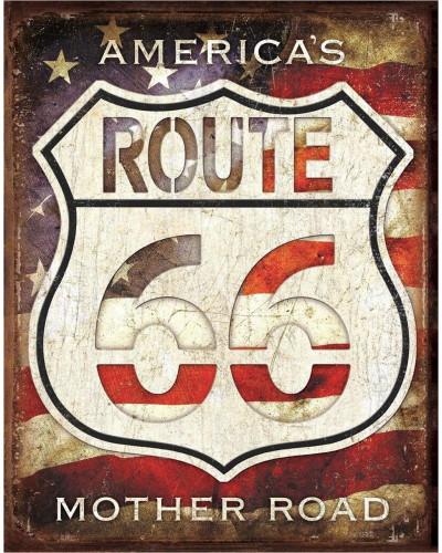 Plechová cedule Rt. 66 - Americas Road 32 cm x 40 cm