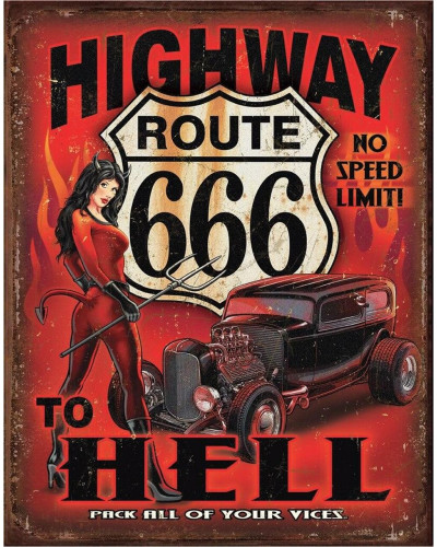 Plechová cedule Route 666 - Highway to Hell 32 cm x 40 cm