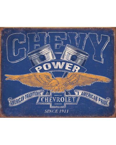 Plechová cedule Chevy Power Restricted 40 cm x 32 cm
