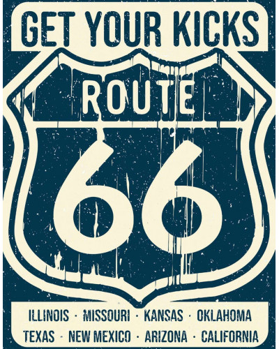 Plechová cedule Route 66 - Americas Road 40 cm x 32 cm