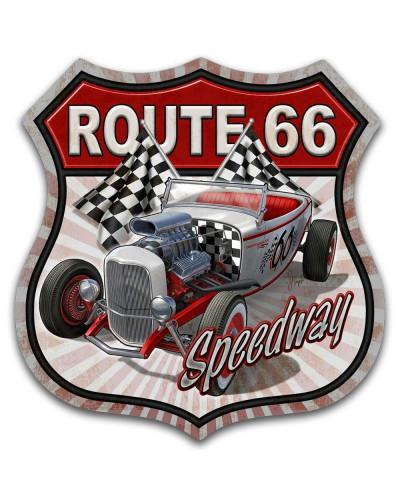 Plechová cedule Route 66 Speedway 30cm x 30 cm