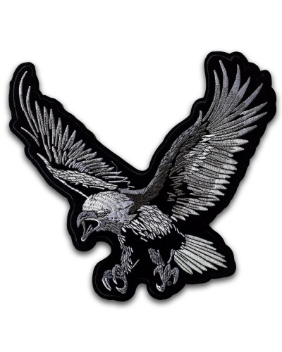 Moto nášivka orel stříbrný XXL na záda 28 cm x 30 cm