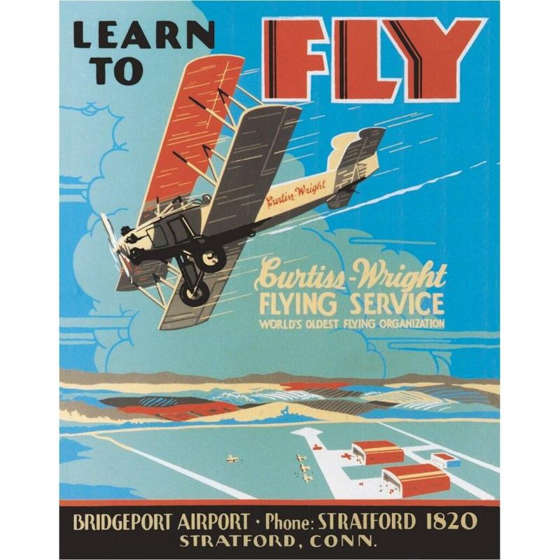 Plechová cedule Learn to Fly 40 cm x 32 cm