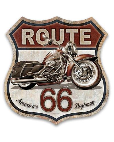 Plechová cedule Route 66 Bike 30cm x 30 cm