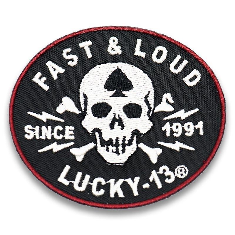 moto nášivka Lucky 13 Fast Loud 7 x 6cm