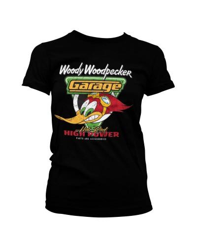 Dámské tričko Woody Woodpecker Garage černé